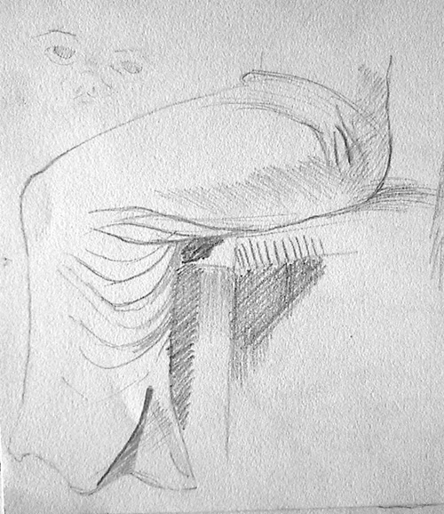Boceto falda de mujer sentada