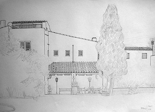 Boceto entrada a masía con ciprés