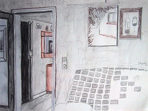 Boceto interior con cuadros