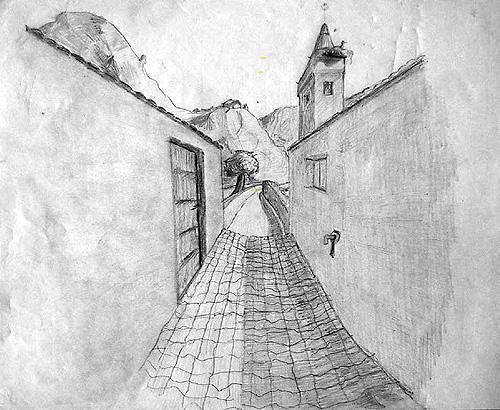 Boceto calle de pueblo con campanario