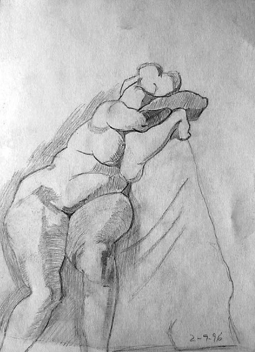 Boceto mujer desnuda apoyada