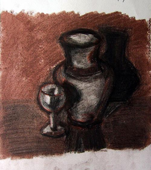 Boceto vasija y copa