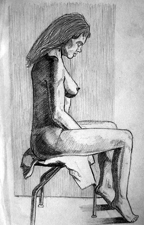 Boceto mujer desnuda sentada