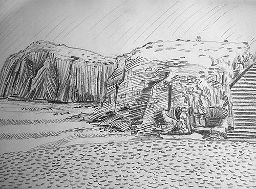 Boceto islotes con escalera