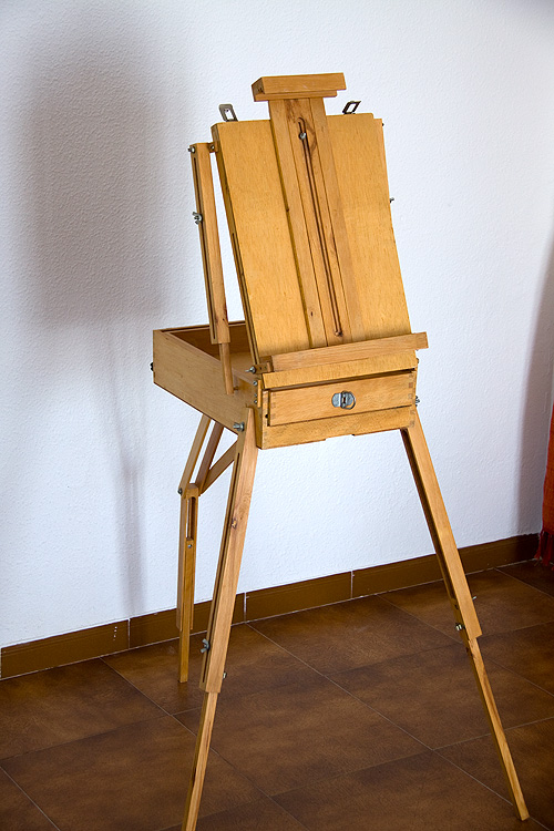 Caballete pintor artesanal frontal soporte lienzo bajado