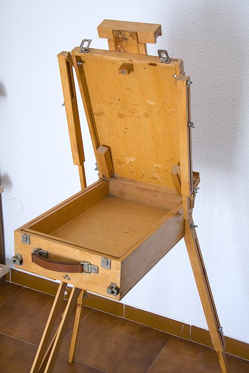 Caballete pintor artesanal interior cajón