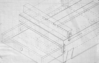 Caballete pintor artesanal plano de isométrica frontal con cajón abierto