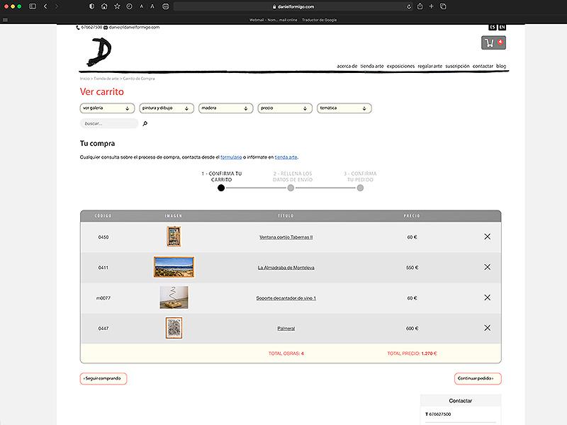 Carrito de compra de la tienda online de arte de Daniel Formigo, Almería