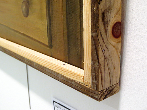 Detalle de marco fino de madera reciclada