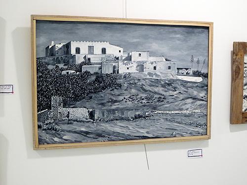 Cuadro al óleo en blanco y negro Cortijo de Fernán Pérez