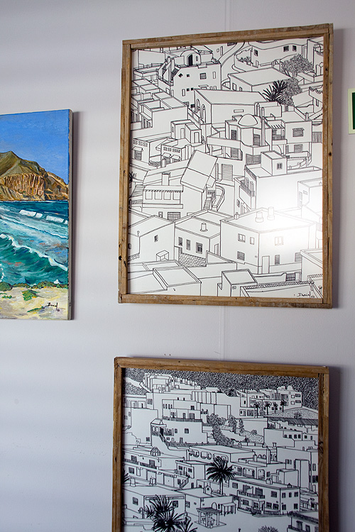 Dibujos a tinta china de la serie Barriadas del Cabo de Gata