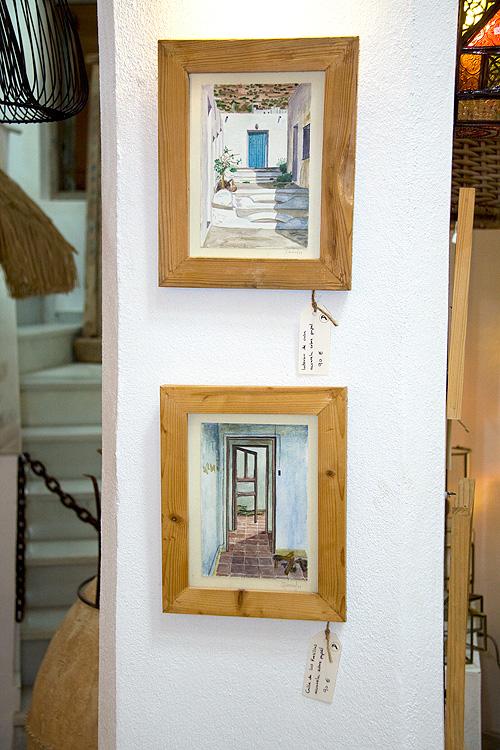 Acuarelas en pequeño formato con marcos de madera reciclada