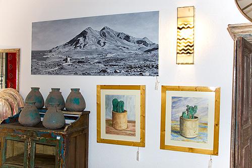 Paisaje del Cabo de Gata y cactus hechos en acuarela
