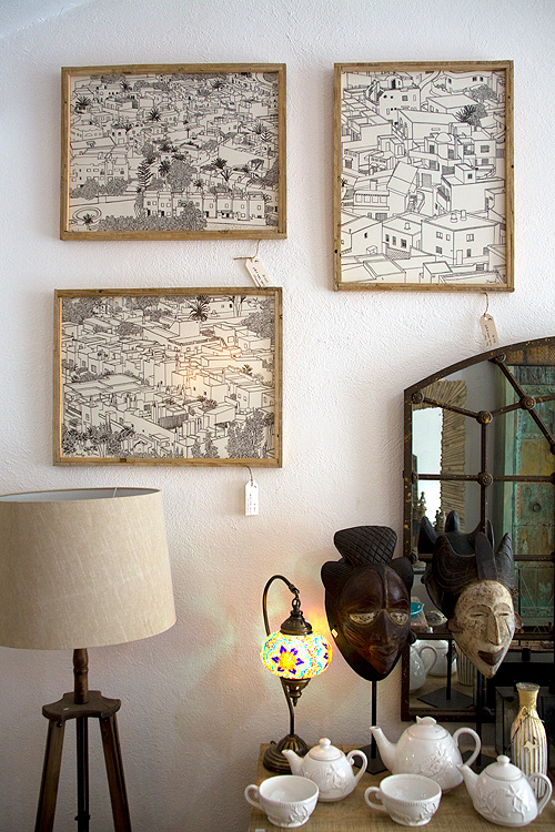 Tres dibujos de la serie Barriadas de Cabo de Gata