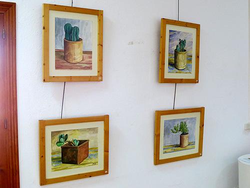 Serie de cactus y suculentas de acuarela
