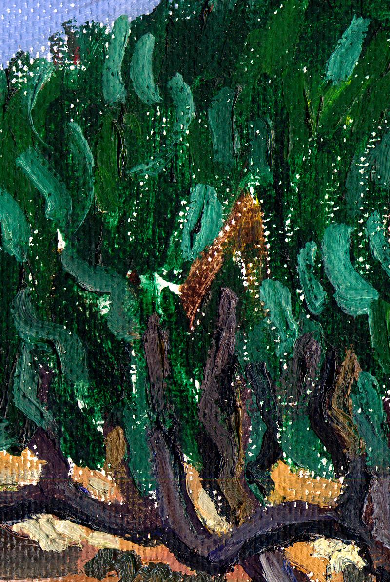 Detalle de Paisaje con tres olivos